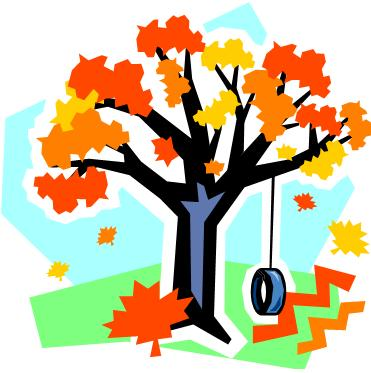 Tire swing in autumn tree