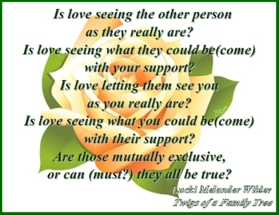 Is love seeing the other person as they really are? Is love seeing what they could be(come) with your support? Is love letting them see you as you really are? Is love seeing what you could be(come) with their support? Are those mutually exclusive, or can (must?) they all be true? #Love #WhatIsLove #TwigsOfAFamilyTree