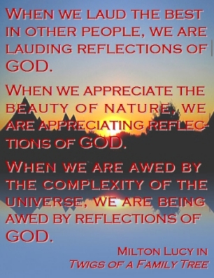 When we laud the best in other people, we are lauding reflections of God. When we appreciate the beauty of nature, we are appreciating reflections of God. When we are awed by the complexity of the universe, we are being awed by reflections of God. #ReflectionsOfGod #GodInAll #TwigsOfAFamilyTree